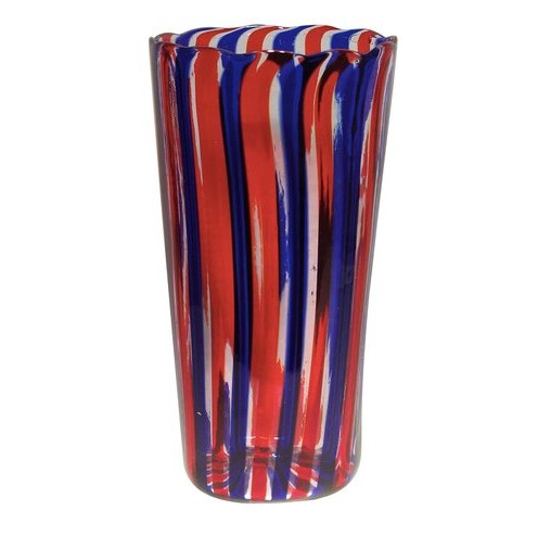 Gritti glass vase with red and blue canes
